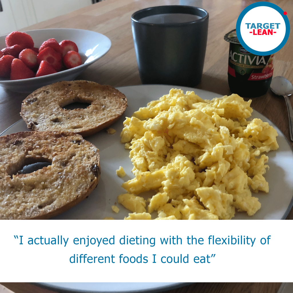 eggs and bagels with fruit meal and caption