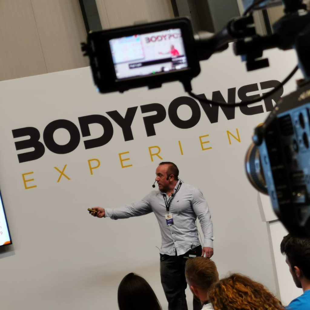 Speaking on the nutrition stage at bodypower
