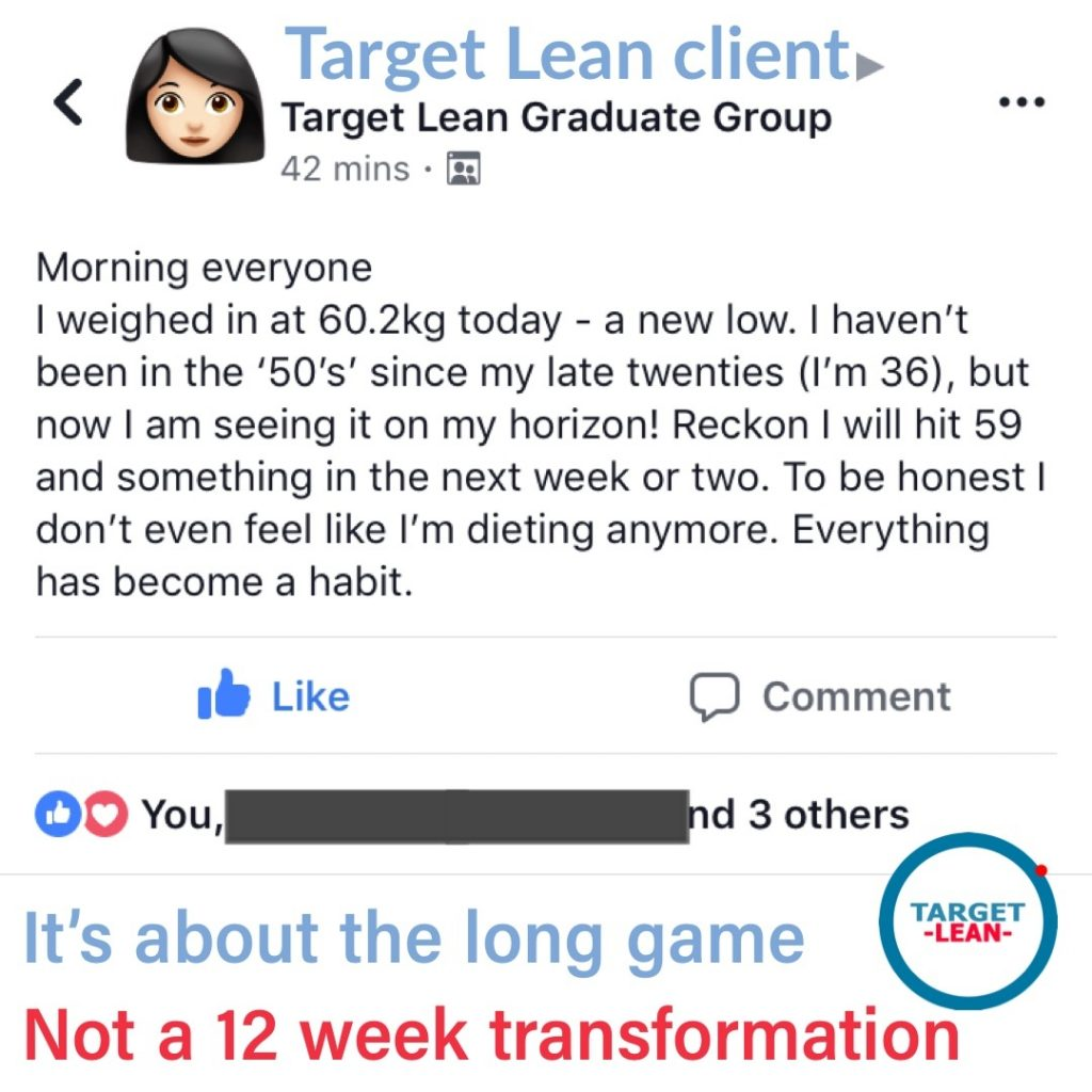 client talking about their long term transformation