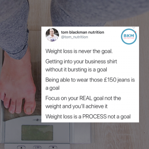 Post showing scales explaining that weight loss is not the goal but a process for a better life