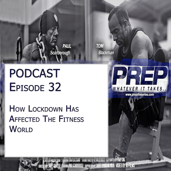 Prep podcast title page with tom and paul in the gym